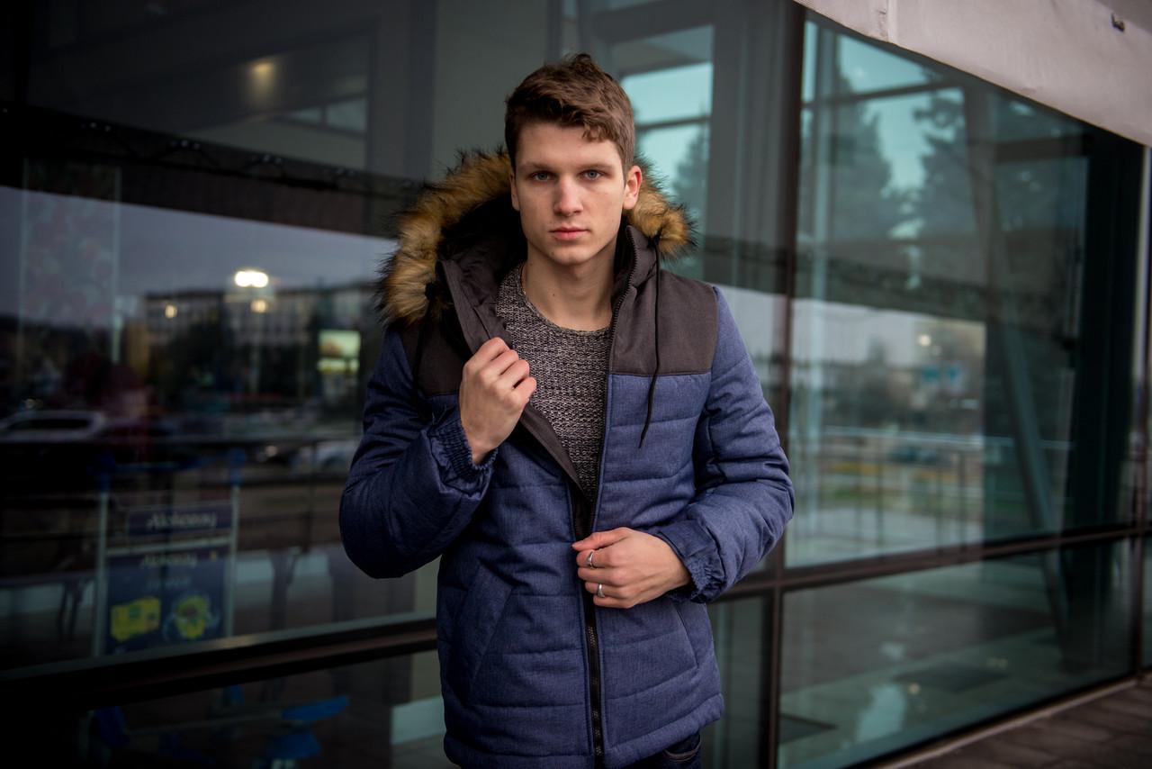"""Куртка мужская зимняя синяя - черная """"Аляска"""" с мехом + подарок Перчатки"""