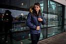 """Куртка мужская зимняя синяя - черная """"Аляска"""" с мехом + подарок Перчатки, фото 4"""