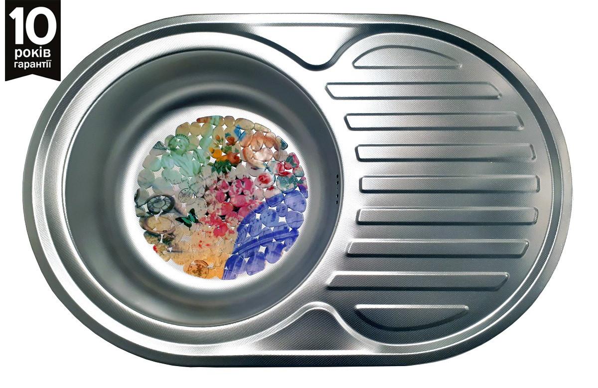 Кухонная овальная мойка с крылом Galati (Eko) Dana Nova Textura