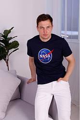 Футболка мужская, хлопковый трикотаж, вышивка NASA р-р 44,46,48,50,52 синяя