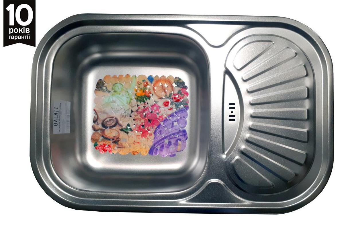 Кухонная мойка врезная из нержавейки Galati Stela Satin