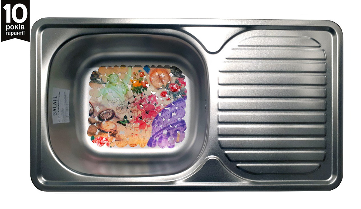 Кухонна мийка з крилом з нержавійки  Galati Anka Satin
