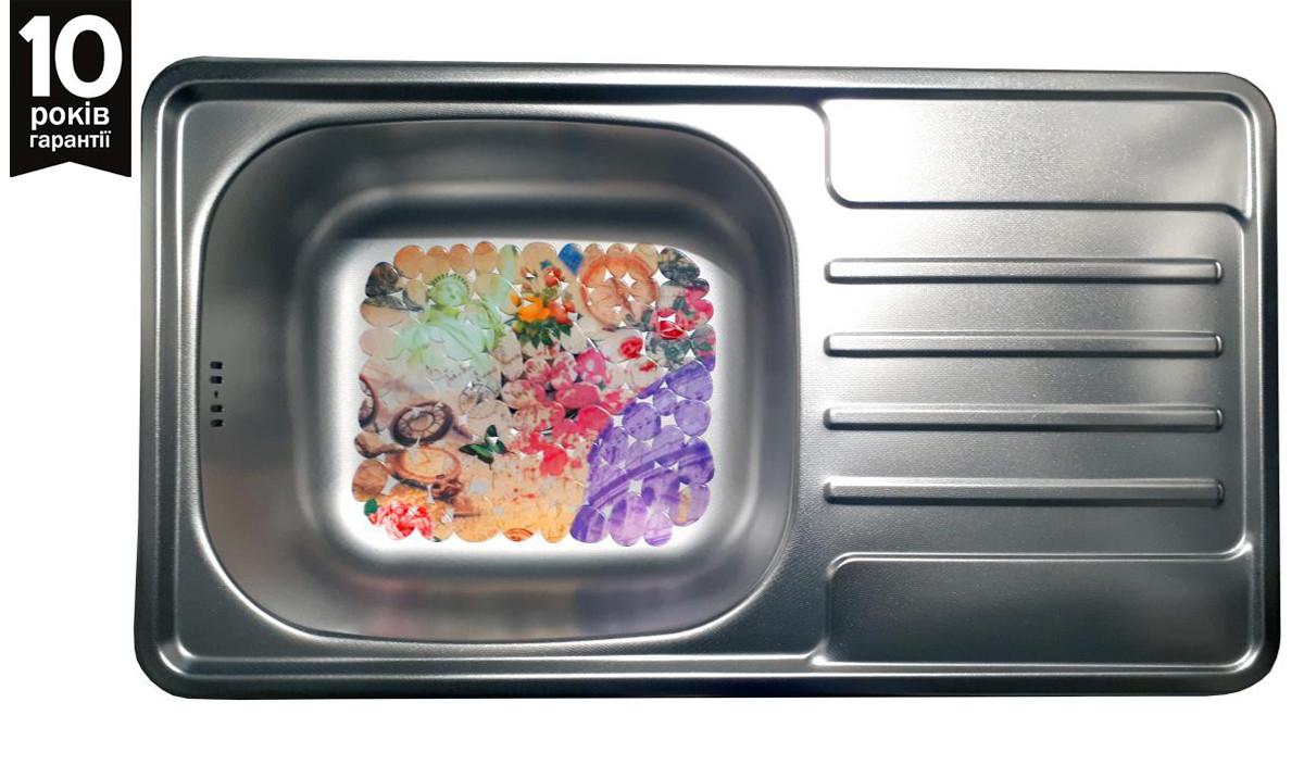 Кухонная мойка прямоугольная с крылом из нержавейки Galati Milana Textura
