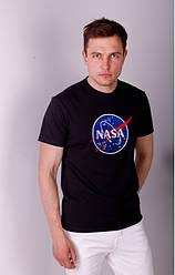 Футболка мужская, хлопковый трикотаж, вышивка NASA р-р 44,46,48,50,52 черная