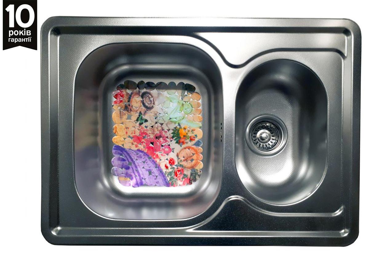 Кухонная мойка двойная из нержавейки Galati Fifika 1.5C Textura
