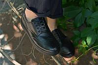 Туфли кожаные на спортивной подошве черные