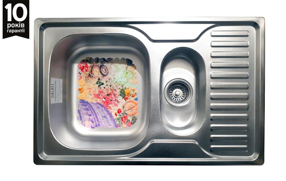 Кухонная мойка врезная из нержавейки Galati Petrika 1.5C Textura