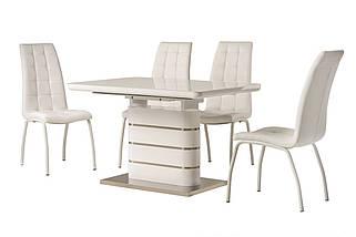 Стол раскладной TM-52-1 120/160 см  МДФ+стекло Белый TM Vetro Mebel, фото 3