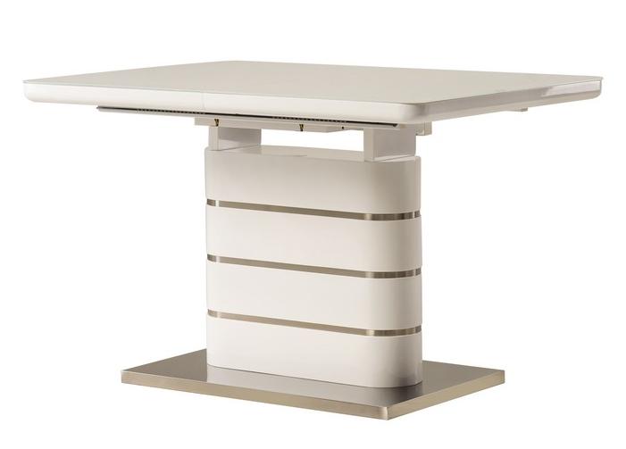 Стол раскладной TM-52-1 120/160 см  МДФ+стекло Белый TM Vetro Mebel
