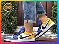 Мужские кожаные кроссовки Nike Air Jordan 1 Low (бело-синий с желтым) Баскетбольная обувь найк аир джордан