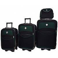 Набір валіз і кейс 4в1 Bonro Style чорно-зелений