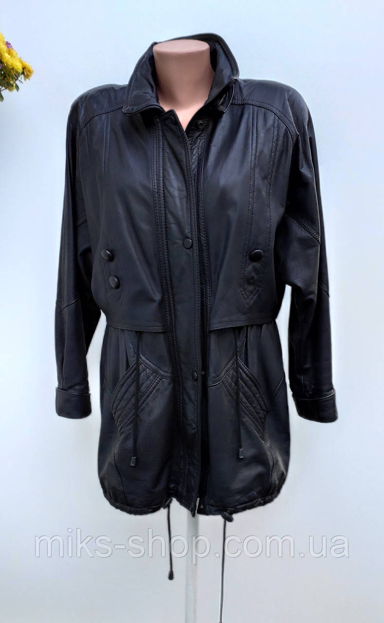 Шкіряна куртка колір коричневий із фіотетовим відтінком Розмір  L ( Б-23)