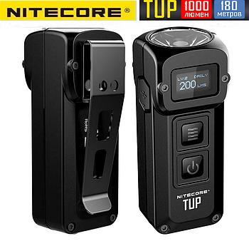 Сверхмощный наключный фонарь с OLED дисплеем Nitecore TUP (1000LM, 1200mAh, USB, Cree XP-L HD V6), Черный