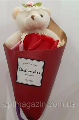 Букет из розы с мишкой в подарочной упаковке, фото 2
