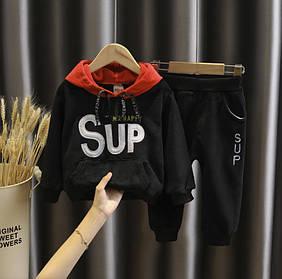 Костюм двойка  детский на мальчика  утепленный на флисе 1 год черный Суп