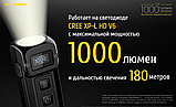 Сверхмощный наключный фонарь с OLED дисплеем Nitecore TUP (1000LM, 1200mAh, USB, Cree XP-L HD V6), Серый, фото 3