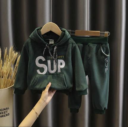 Костюм двойка  детский на мальчика утепленный на флисе 1 год зеленый Суп, фото 2