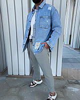 Крутая рубашка мужская джинсовая оверсайз голубая