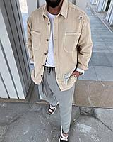 Крутая рубашка мужская джинсовая оверсайз бежевая