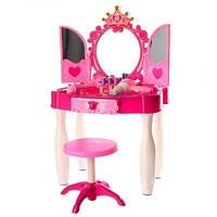 Детское музыкальное трюмо с зеркалом туалетный столик Маленькая кокетка для косметики стульчик 661-21