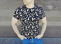 Модная мужская футболка черная с принтом