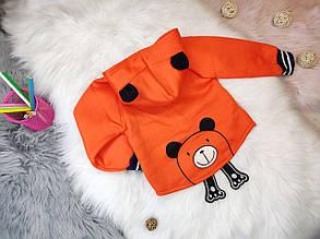 Кофта детская на мальчика на  меху с капюшоном Мишка 4 года оранжевая, фото 2