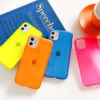 Чехол для iPhone 12 mini противоударный прозрачный силиконовый неоновый флуоресцентный