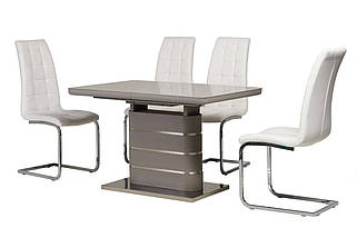 Стол раскладной TM-52-1 120/160 см МДФ+стекло серое TM Vetro Mebel, фото 2