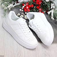 Удобные повседневные белые женские кроссовки кеды на шнуровке, фото 1