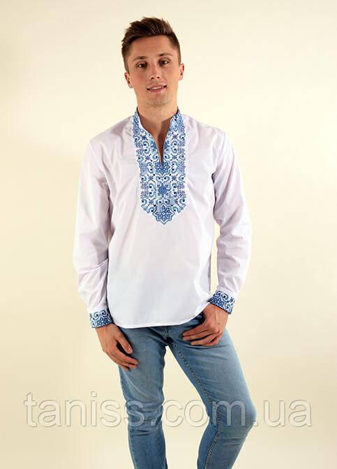 """Мужская рубашка-вышиванка """"Полковник плюс"""",ткань сорочечная, размеры 48,50,52 белая с синим"""