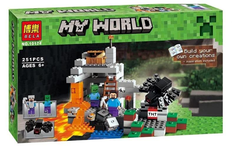 """Конструктор майнкрафт  BELA Minecraft """"Пещера"""" 251 деталей"""