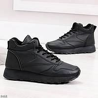 Стильные повседневные высокие черные женские кроссовки на молнии, фото 1