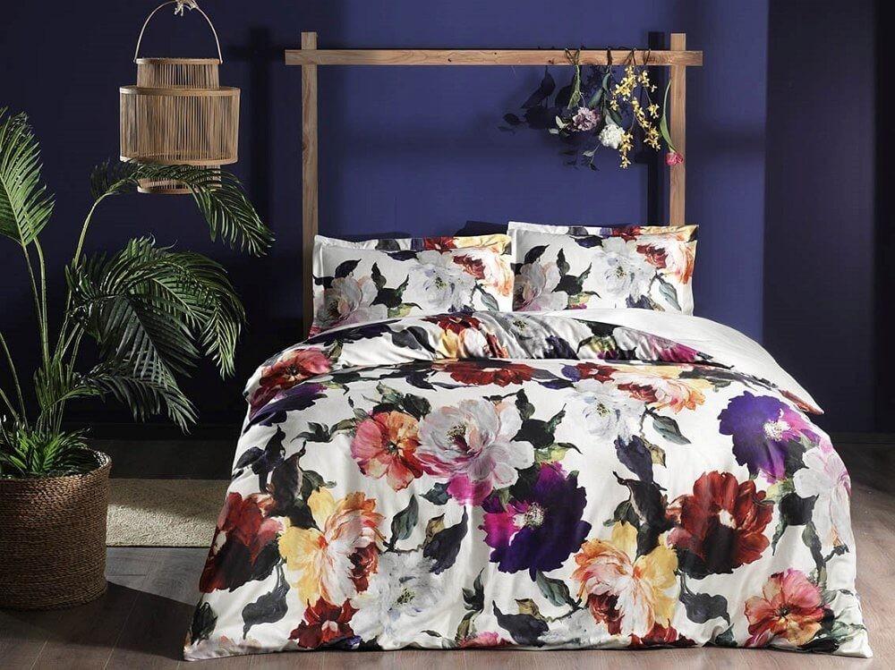 Двуспальный евро комплект TAC Alessa Sari Сатин яркий цветочный принт (60241720)