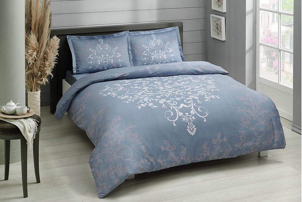 Двуспальный евро комплект TAC Anissa Blue Сатин голубой цвет с узором (60218103)