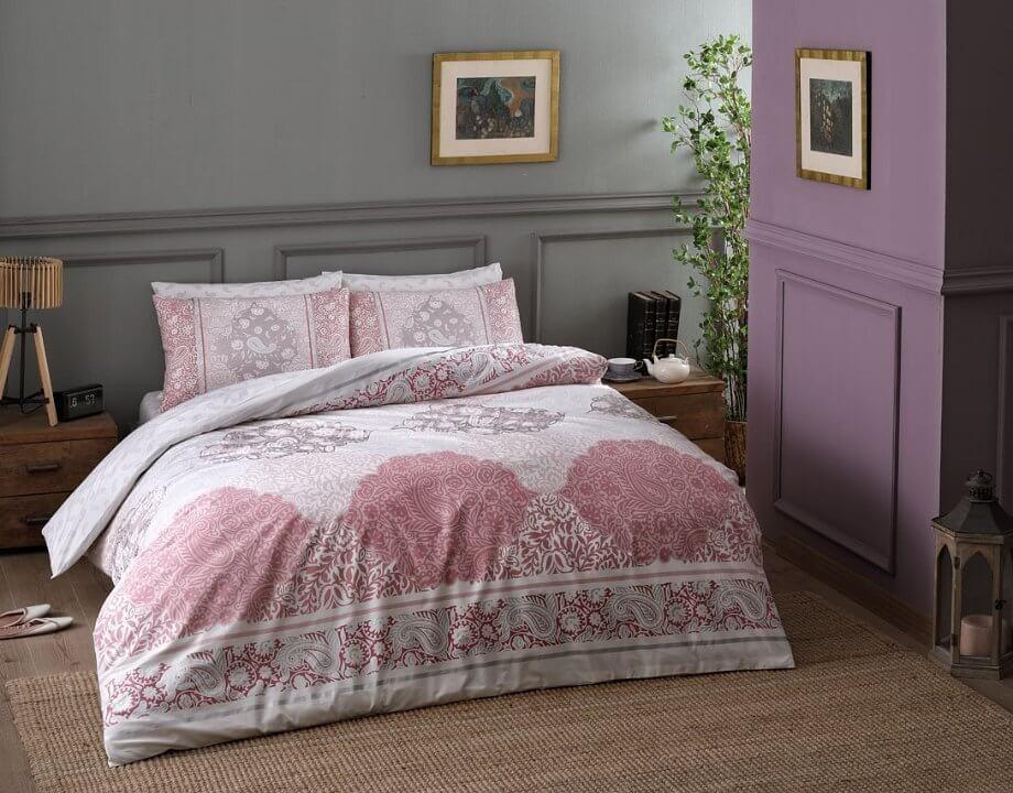 Двуспальный евро комплект TAC Aryan Pink Ранфорс белый с розовым принт (60154148)