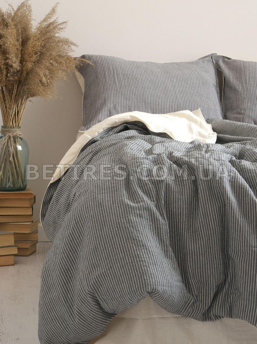 Комплект постільної білизни 200x220 LIMASSO MELODIE NOIRE (VIRGIN SERIES) темно-сірий