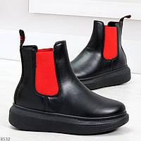 Яркие модные черные женские ботинки челси с красными вставками, фото 1