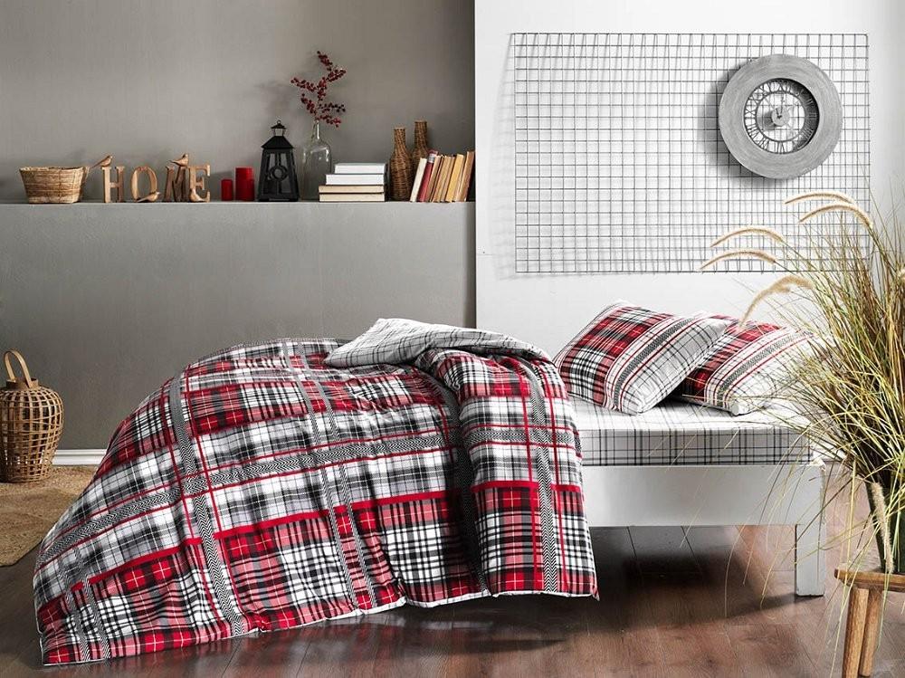Двуспальный евро комплект TAC Blair Red Ранфорс красно-серая клетка  (60229804)