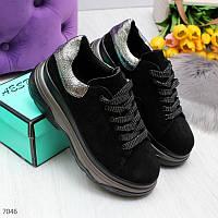 Серебристые черные женские модельные кроссовки из натуральной замши, фото 1