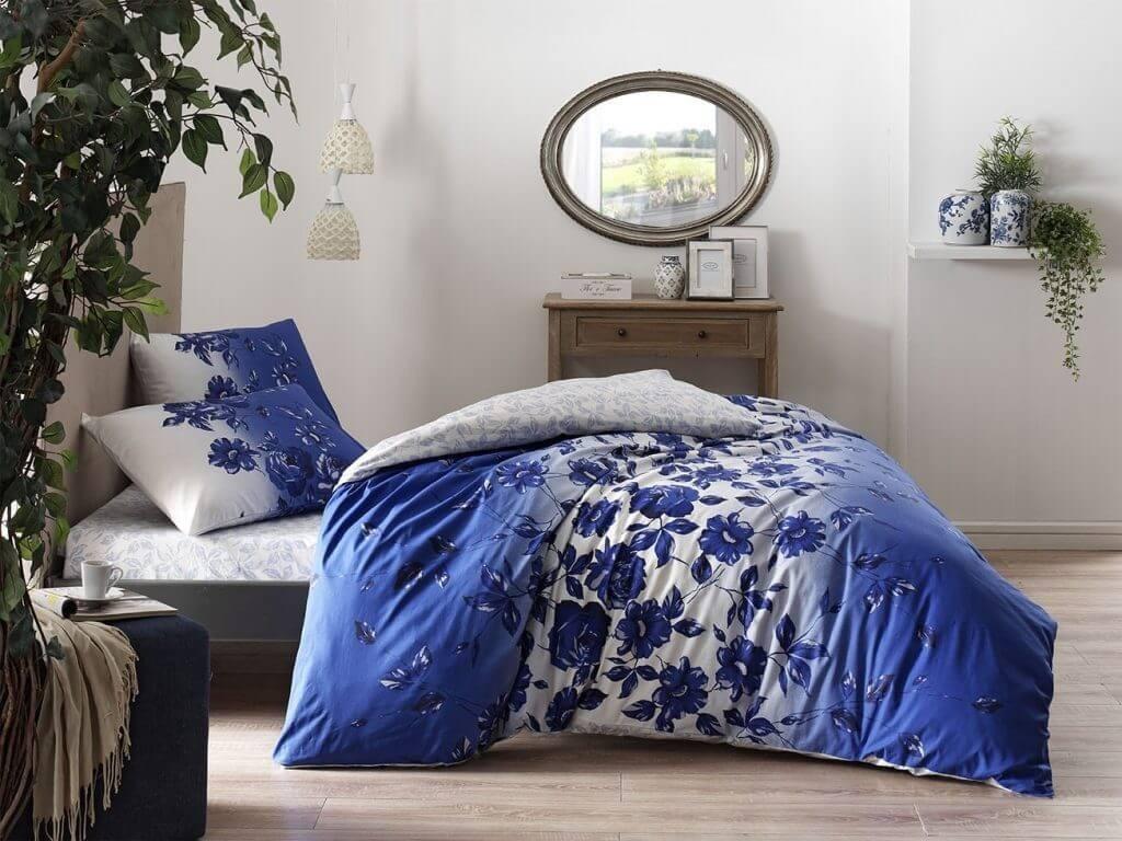 Двуспальный евро комплект TAC Lizzy Blue Ранфорс белый с синим принтом цветы (60218973)