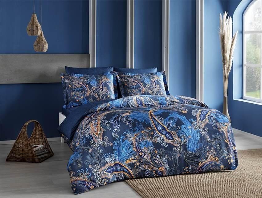 Двуспальный евро комплект TAC Marisol Blue Сатин-Digital темно-синий цвет с рисунком (60190867)