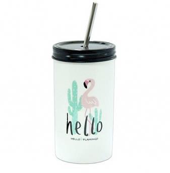 Стакан с трубочкой Flamingo