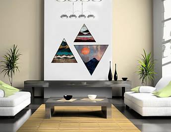Модульная треугольная картина 3 в 1 Солнце в зените