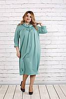 Красивое скрывающее платье цвета шалфей | 0744-3