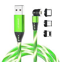 Магнитный светящийся поворотный дата кабель Greenport 3в1 Iphone, microUSB, Type-C Green