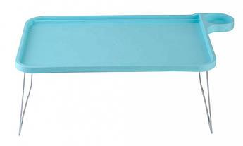 Подставка пластиковая для ноутбука на ножках с подстаканником (голубой)