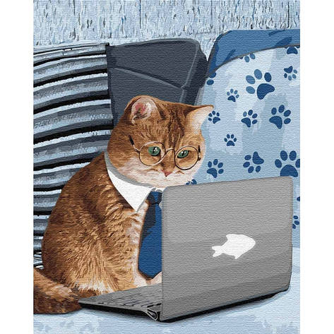 Картина по номерам КНО4189 Маленький умник, кот 40*50см Идейка, фото 2