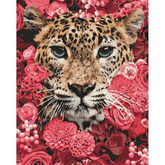 Картина по номерам КНО4185 Леопард в цветах 40*50см Идейка