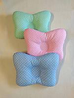 Подушка ортопедическая для новорождённых masterwork (метелик) 22*30 см. белая в горошек