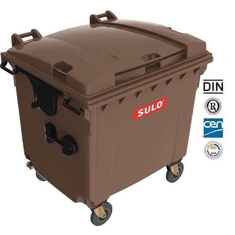 Євроконтейнер  Sulo з пласкою кришкою 1100 л. коричневий, фото 2